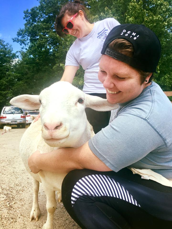 Volunteers at Graze in Peace Farm Animal Rescue in Maine